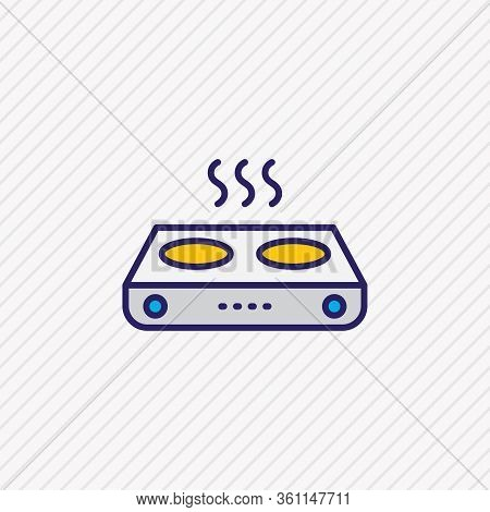 Vector Illustration Of Electric Gas Stove Icon Colored Line. Beautiful Electric Utility Element Also