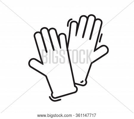 Vector Medical Surgical Protective Rubber Gloves Icon. Monoline Hand Drawn Latex Hand Protection Sig