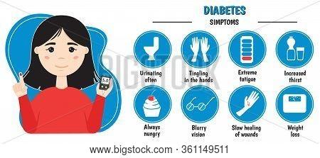 Diabetes Infographics. Symptoms. Signs Of High Blood Sugar.vector Illustration.