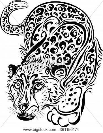 Stylized Leopard Sneaks In Black, Isolated Object On A White Background, Vector Illustration, Eps