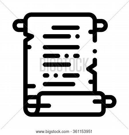 Scroll Of Parchment Paper Icon Vector. Scroll Of Parchment Paper Sign. Isolated Contour Symbol Illus