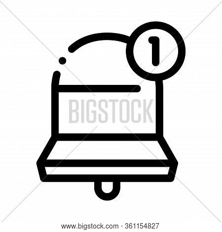 One New Notice Icon Vector. One New Notice Sign. Isolated Contour Symbol Illustration
