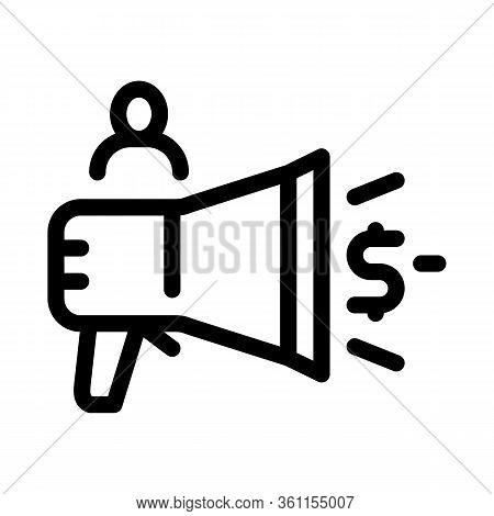 Loudspeaker Announcement Of Money Icon Vector. Loudspeaker Announcement Of Money Sign. Isolated Cont