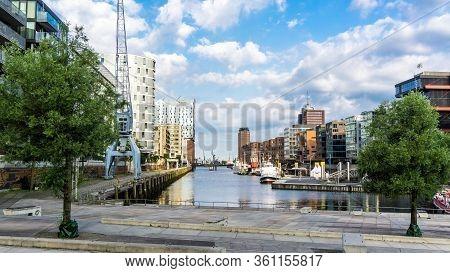 Hamburg, Germany - June 23, 2019 Historical Ships In Port Sandtorhafen  Of Hamburg Port District Haf