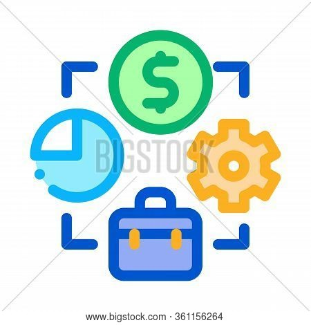 Connection Of Work Time And Money Icon Vector. Connection Of Work Time And Money Sign. Color Symbol