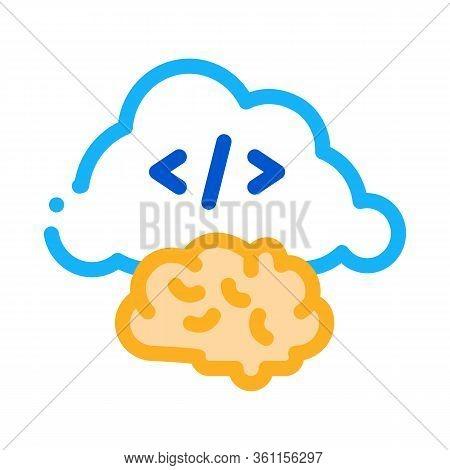 Brain Cloud Separation Icon Vector. Brain Cloud Separation Sign. Color Symbol Illustration