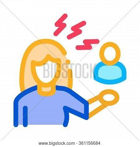 Female Discussion And Conviction Icon Vector. Female Discussion And Conviction Sign. Color Symbol Il