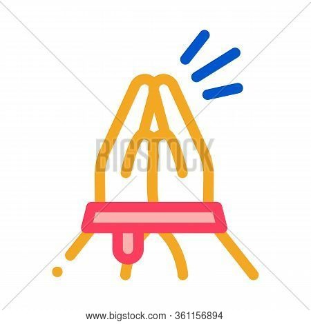 Tied Hands Asking For Help Icon Vector. Tied Hands Asking For Help Sign. Color Symbol Illustration