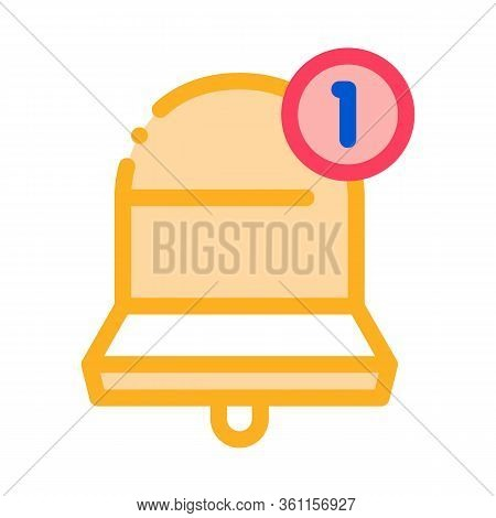 One New Notice Icon Vector. One New Notice Sign. Color Symbol Illustration