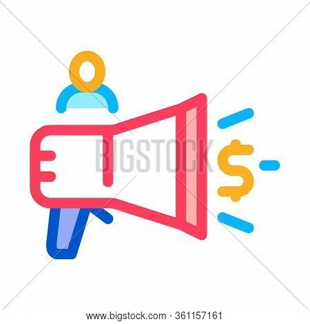 Loudspeaker Announcement Of Money Icon Vector. Loudspeaker Announcement Of Money Sign. Color Symbol