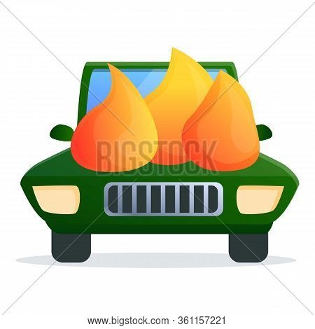 Car On Fire Accident Icon. Cartoon Of Car On Fire Accident Vector Icon For Web Design Isolated On Wh