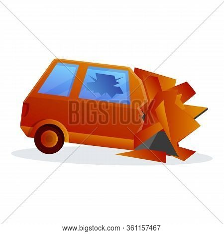 Danger Car Accident Icon. Cartoon Of Danger Car Accident Vector Icon For Web Design Isolated On Whit
