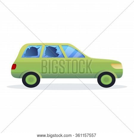 Street Car Accident Icon. Cartoon Of Street Car Accident Vector Icon For Web Design Isolated On Whit