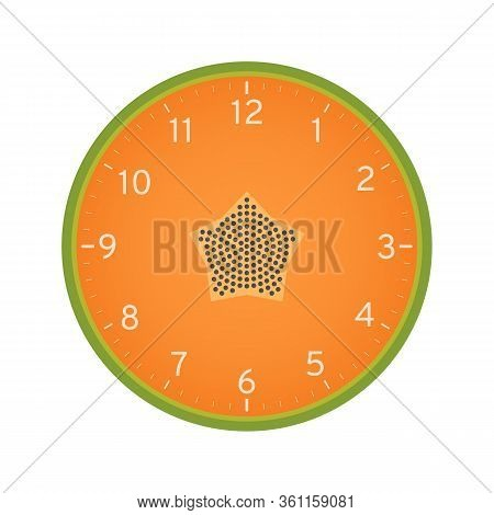 Papaya Slice Concept, Printable Clock Face Template Isolated On White Background. Clock Dial With Ri