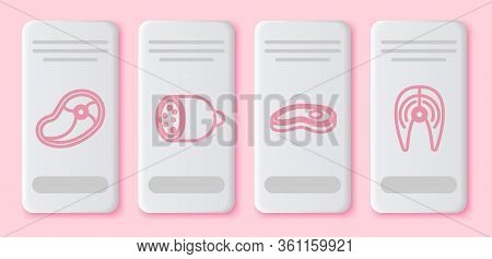 Set Line Steak Meat, Salami Sausage, Steak Meat And Fish Steak. White Rectangle Button. Vector