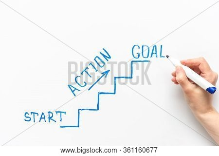 Start And Goal. Image Of Stairs And Steps As A Business Concept Of Achieving A Goal. Drawn With A Bl