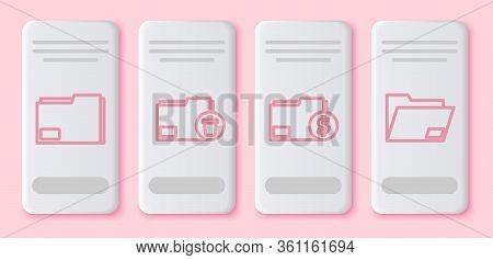 Set Line Document Folder, Delete Folder, Finance Document Folder And Document Folder. White Rectangl