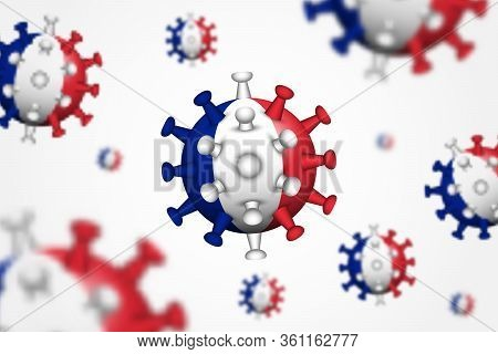Covid-19 . 3d Floating Corona Virus With France Flag And Depth Of Field . Cause Of Sars , Mers Cov A