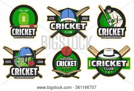 Cricket Sport Game And Player Vector Icons. Sport Club, Tournament And Championship Symbols. Cricket