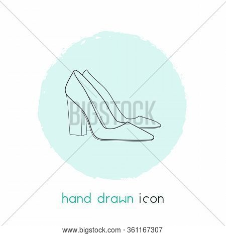 Chunky Heel Icon Line Element. Vector Illustration Of Chunky Heel Icon Line Isolated On Clean Backgr