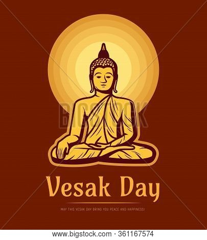 Vesak Day Holiday. Buddha Sitting Under Full Moon Meditate In Lotus Yoga Pose. Buddhism Asian Religi