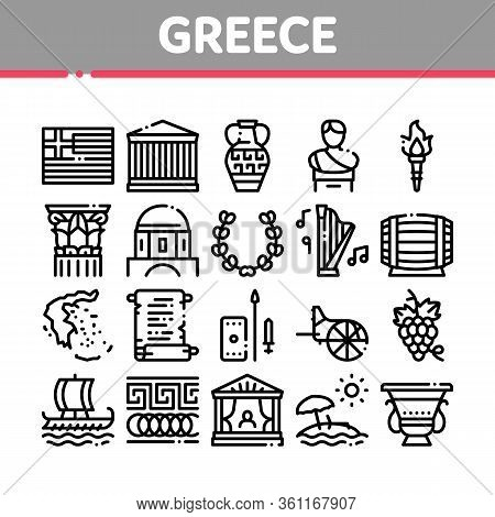 Greece Country History Collection Icons Set Vector. Greece Flag And Antique Amphora, Building And Bo