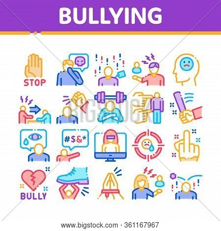 Bullying Aggression Collection Icons Set Vector. Internet Bullying And Name-calling, Beating And Sho