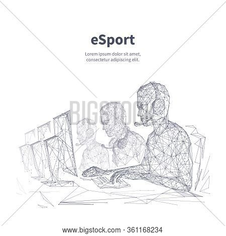 Esport Low Poly Wireframe Banner Vector Template. Multiplayer Competition, Video Game Tournament Bla