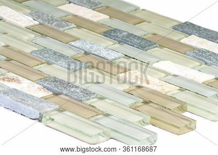Glass And Stone Mosaic Backsplash Tiles Against White Background