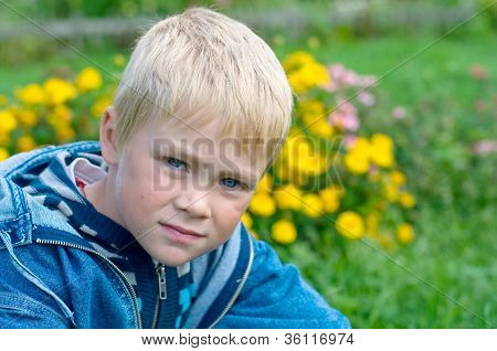 Serious View Of Five Year Old Boy.
