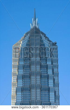Pudong, Shanghai, China, Asia - November 18, 2008: Close-up Detail Of The Top Of The Jin Mao Tower.