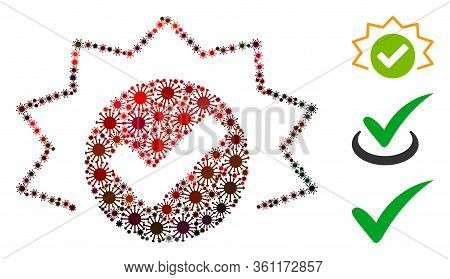Collage True Alert Organized From Flu Virus Items In Variable Sizes, Red Colors. Vector Infection Ic