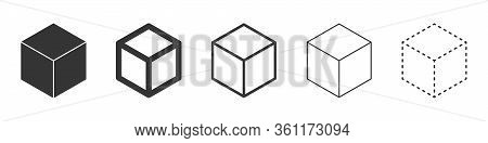 Cube Vector Icons. Set Of Cube Symbols On White Background. Vector Illustration. Various Black Cube