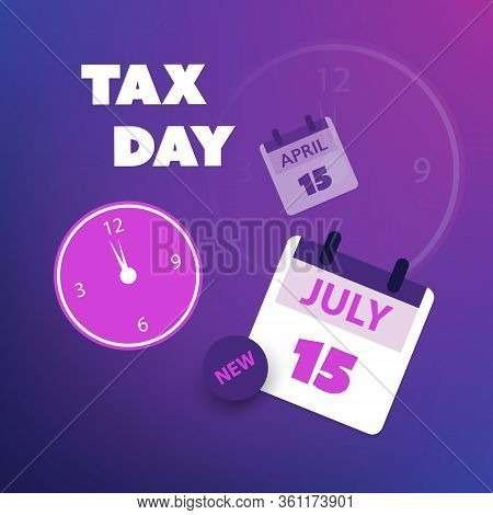 Modern Style Tax Day Reminder Concept, Blue And Purple Calendar Design With Clock - Us Tax Deadline