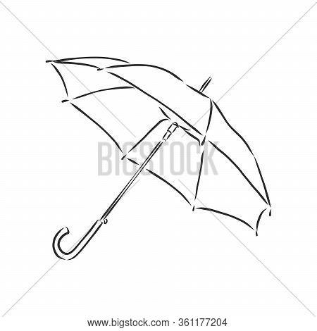 Umbrella Coloring, Linear Drawing, Outline, Vector Sketch, Icon, Monochrome, Contour Illustration. B