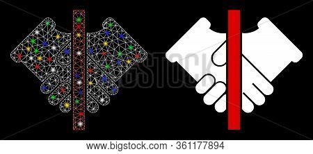 Colorful Mesh No Handshake With Glare Effect. Abstract Illuminated Model Of No Handshake Icon. White