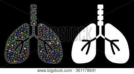 Glossy Mesh Breathe System With Glow Effect. Abstract Illuminated Model Of Breathe System Icon. Whit