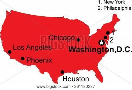 Major Cities Highlighted Usa Mainland Map. Red Background.