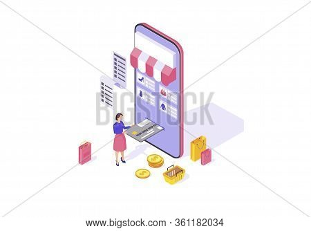 Online Shopping App Isometric Color Vector Illustration. Mobile Banking. Online Payment Infographic.