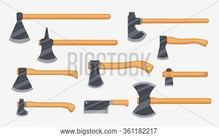 Different Kinds Of Vector Axes. Forester, Fire, Tourist Ax And Kitchen Ax . Tools Collection.