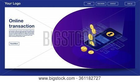 Online Transaction Webpage Vector Template With Isometric Illustration. Website Interface Design. E-