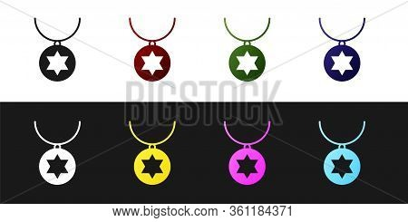 Set Star Of David Necklace On Chain Icon Isolated On Black And White Background. Jewish Religion. Sy