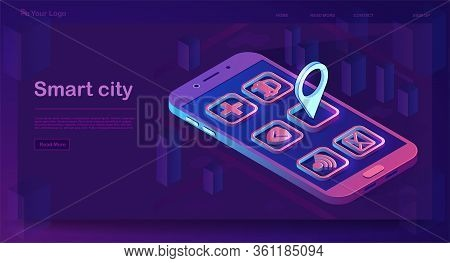 Smart City App Isometric Banner. Futuristic Smartphone With Application Icons. Futuristic 3d City Sm