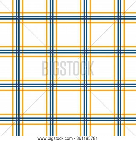 Plaid Check Vector Seamless Pattern Background. Picnic Cloth Linear Geometric Blue White Orange Back