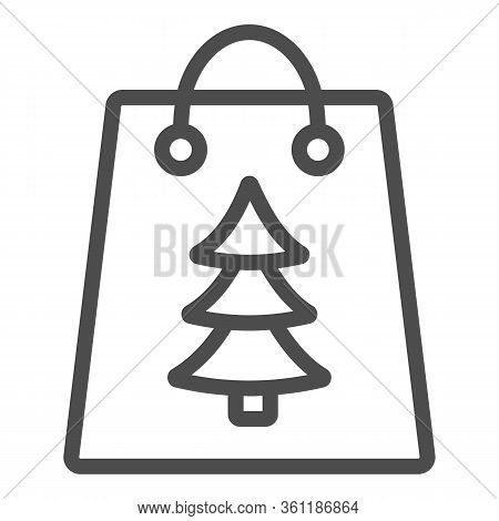 Gift Bag With Tree Sign Line And Solid Icon. Christmas Present Package Outline Style Pictogram On Wh