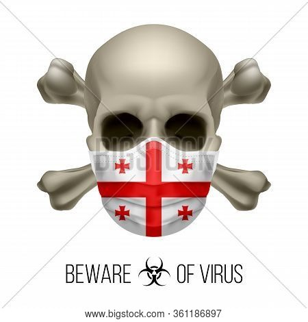 Human Skull With Crossbones And Surgical Mask In The Color Of National Flag Georgia. Mask In Form Of