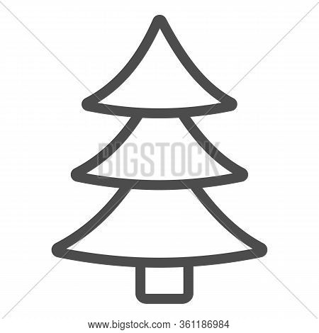 Christmas Tree Line And Solid Icon. Decorated Conifer Outline Style Pictogram On White Background. N
