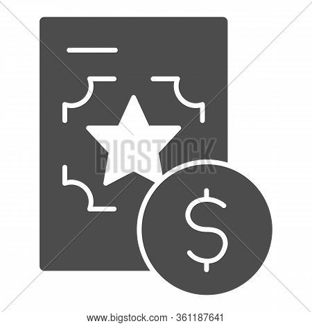 Best Recruitment Offer Solid Icon. Document With Valuable Info Glyph Style Pictogram On White Backgr