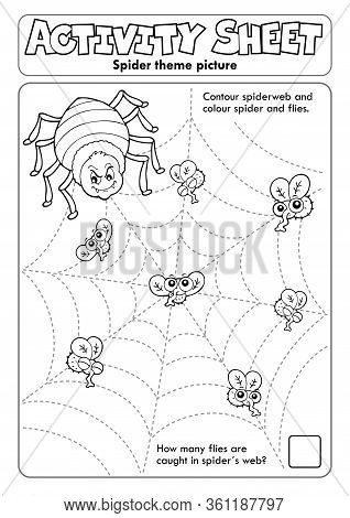 Activity Sheet Spider Theme 1 - Eps10 Vector Picture Illustration.