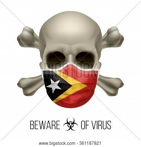 Human Skull With Crossbones And Surgical Mask In The Color Of National Flag East Timor. Mask In Form